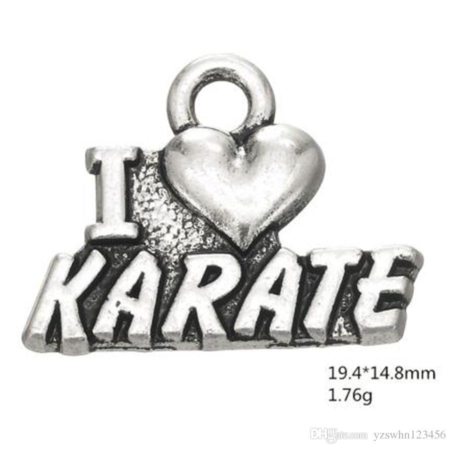 2021 I Love Karate Sporty Word Charms for Sports Lover Otra joyería personalizada