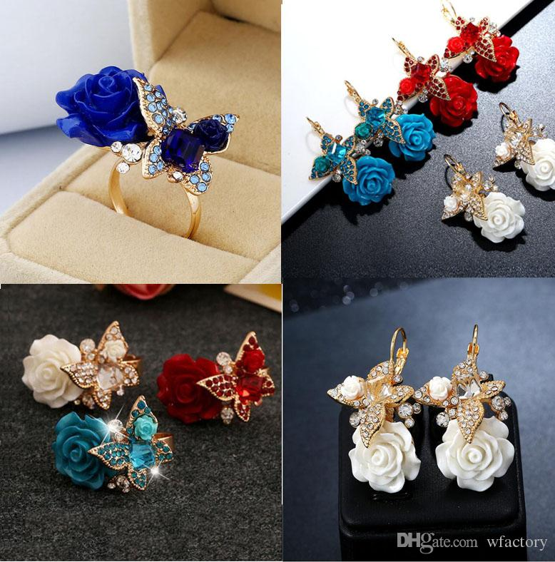 Fashion Trendy Retro Bohemia Flower Ring Butterfly Crystal Gold Ring Stud Earring Adjustable Ring For Women Jewelry Gift