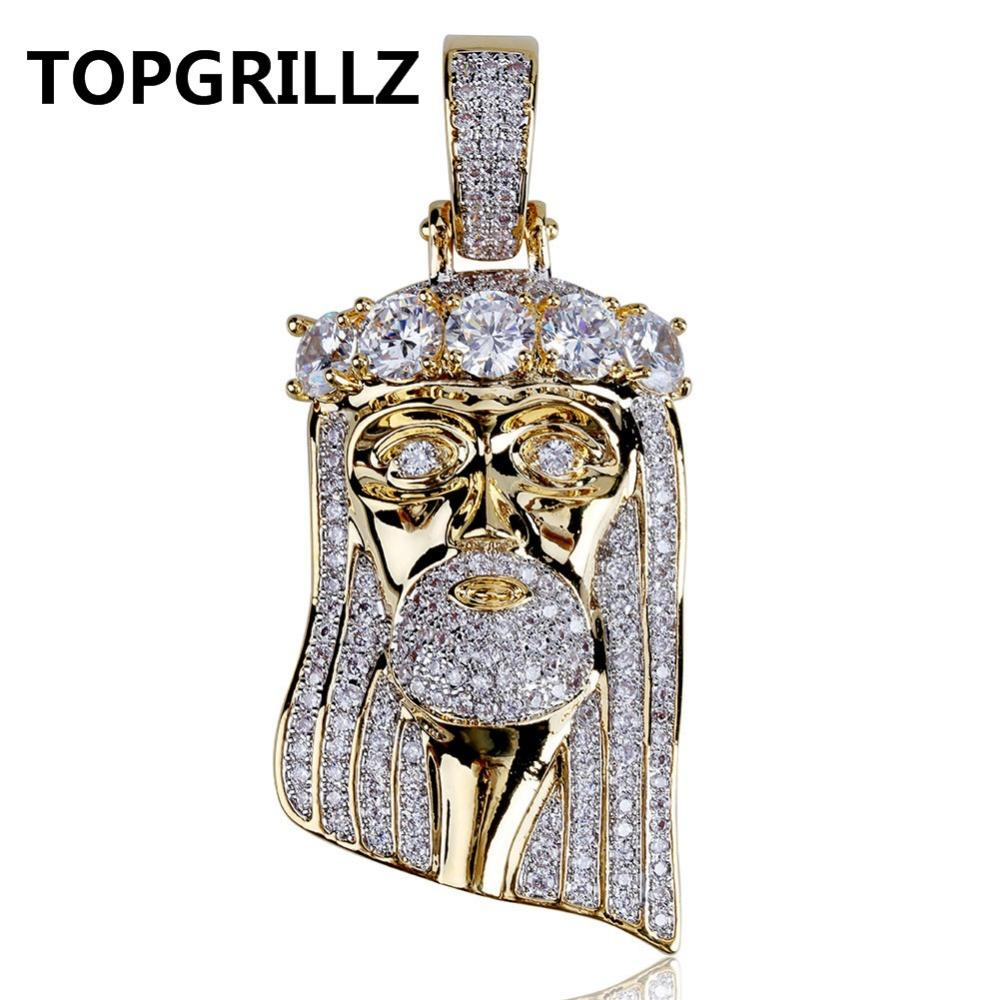 TOPGRILLZ Hip Hop New Fashion Gold Color Plated Iced Out Big CZ Stone Masked Jesus Face Pendant Necklace Crystal With Three Type