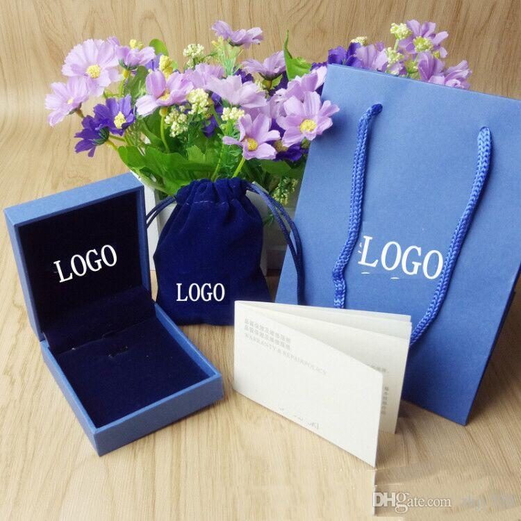 Fashion Beautiful box Branded famous S letter brand pendants necklace package set original handbag and velet bag jewelry gift box free