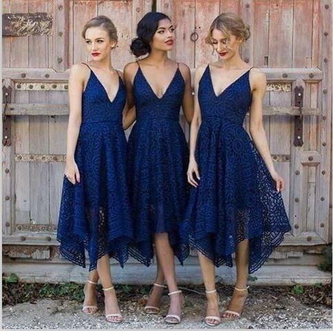 레이스 V 목 짧은 네이비 블루 들러리 드레스 섹시한 스트랩 아프리카 나이지리아 레이스 드레스