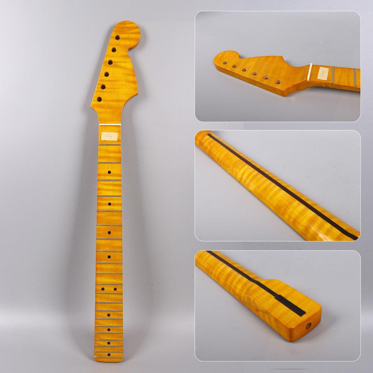 Flame Maple Electric Guitar Neck 21fret 25.5inch Handmade Electric Guitar Replacement Guitar Accessories