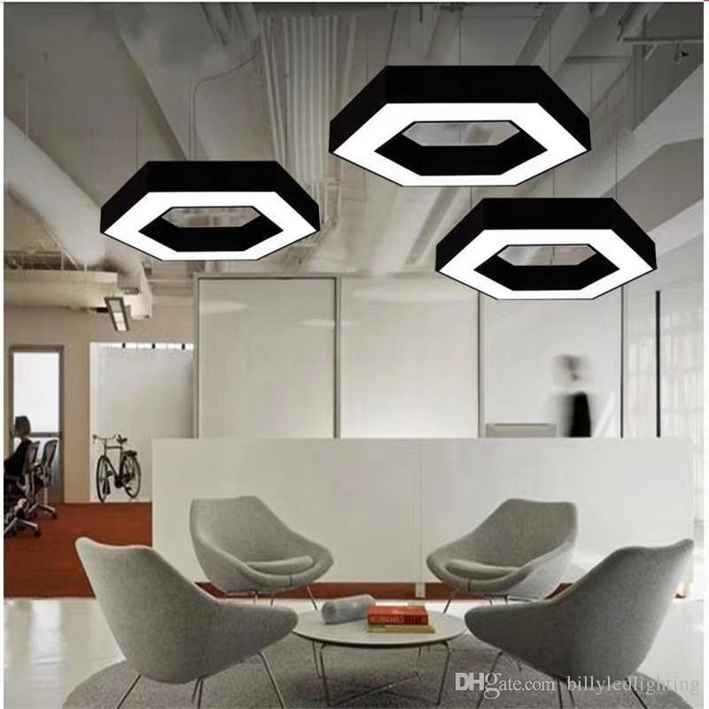 Modern Iron LED Pendant Light White/Black decoration hanging lights For Conference Room Home Study Decor DIY Combination Shape