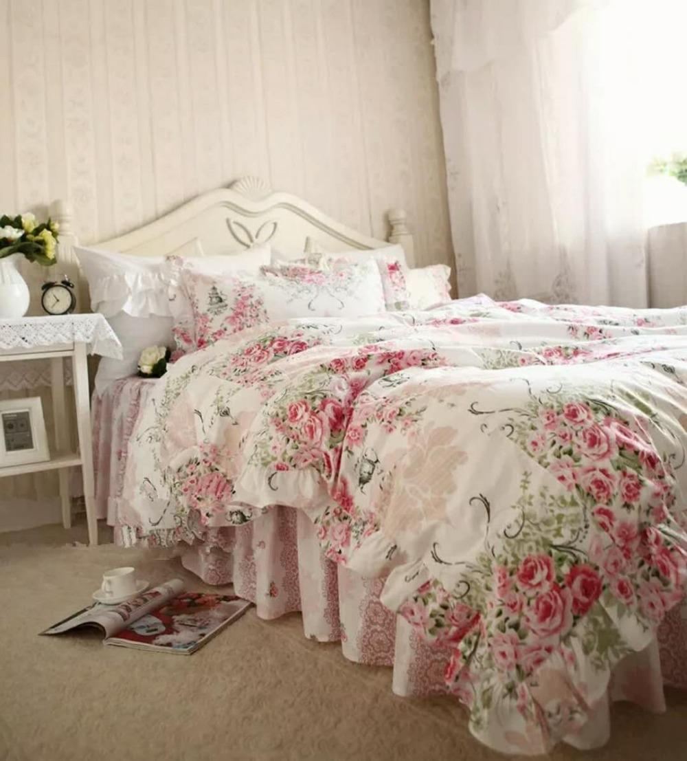 Luxury Ruffle Bedding sets Queen King Size cotton Duvetcover Europe pastoral pink rose Blue flower oil painting princess Bedding