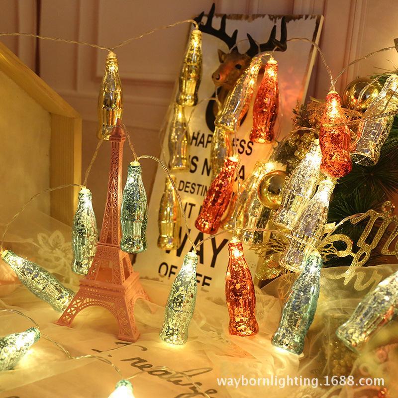1.5 m LED electroplated chip cola bottle lamp string, snow pattern bottle shape string lamp, beautiful festival decorative lantern