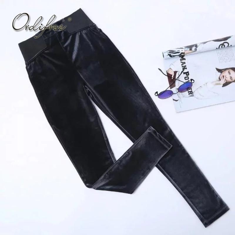 Ordifree 2018 Autumn Winter Women Velvet Leggings Warm Leggins High Waist Skinny Pants Velour Black Blue Grey Velvet Leggings
