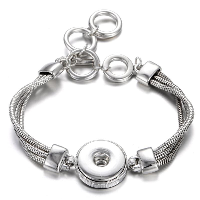 New Noosa Bracelets Adjustable Silver 18mm Snap Bracelet Watches fit 18mm Snap Buttons Jewelry