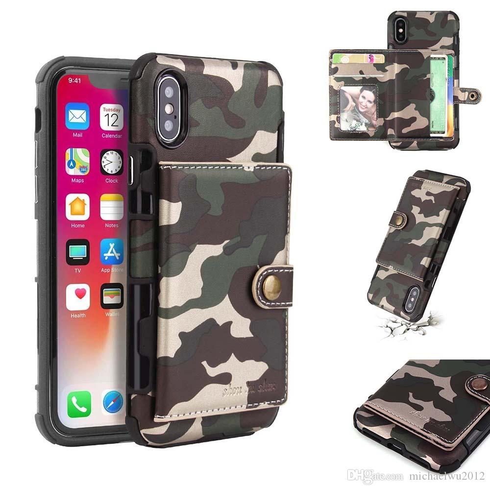 Tarnung-Telefon-Kasten für iPhone X 8 7 Fall PU-Leder-Armee-Camou-stoßfeste rückseitige Abdeckung für iPhone 7 8 Pluskarten-Schlitz-Mobiltelefon-Abdeckung