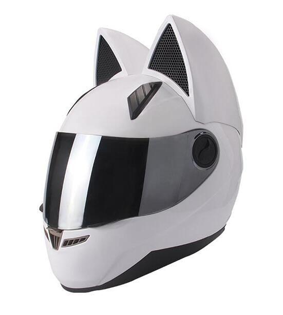NITRINOS Preto completa face do capacete da motocicleta Personalidade do gato da forma do capacete Moto Moto Capacete M / L / XL / XXL