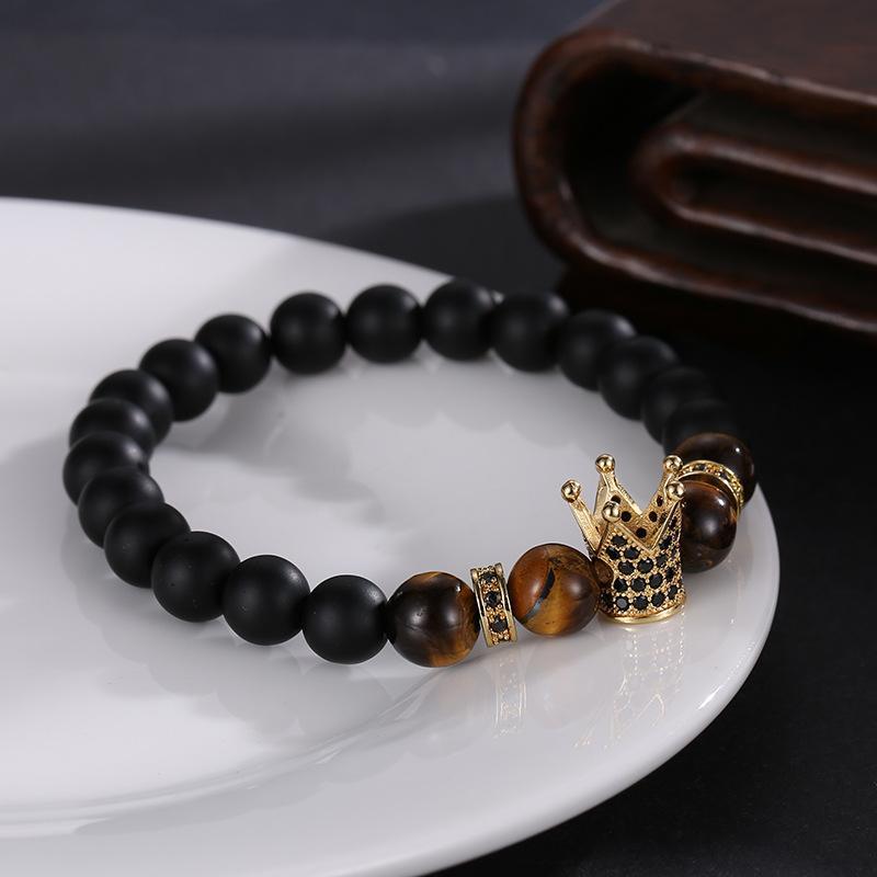 Nuovi braccialetti della corona di zircon di modo 8mm braccialetti di yoga della pietra naturale glassati di Tigereye braccialetti per il regalo dell'amico