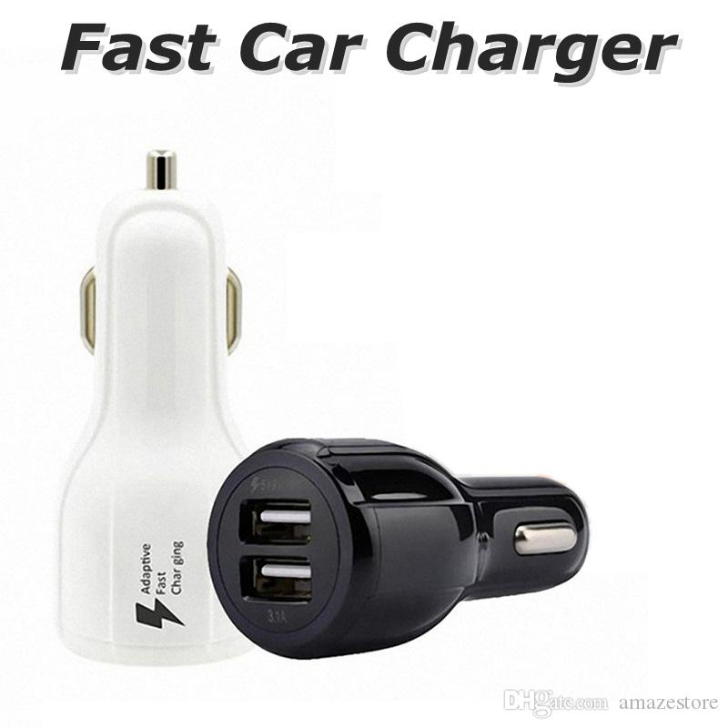 3.1 A Fast Car Charger LED Quick Dual USB Charging Adaptive 9V 5V 12V For Samsung S9 S8 Note 8