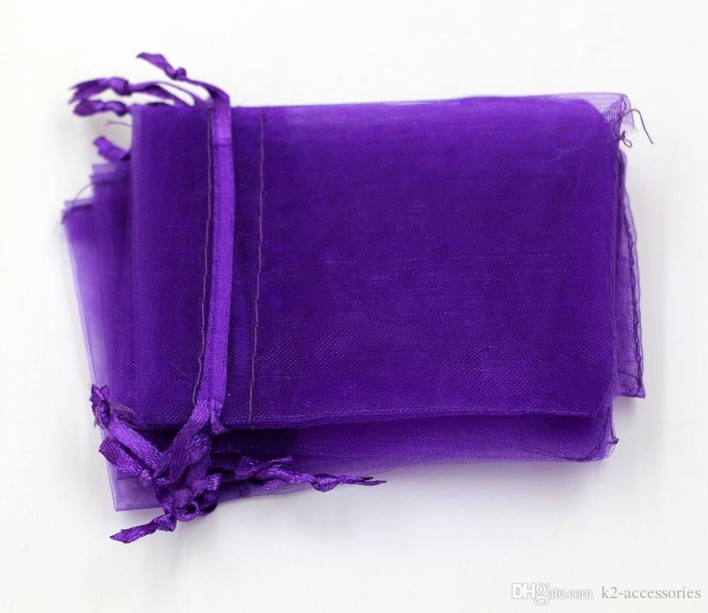 Hot Sales ! 100pcs PURPLE Drawstring Organza Gift packing Bags 7x9cm 9x12cm 10x15cm Wedding Party Christmas Favor Gift Bags