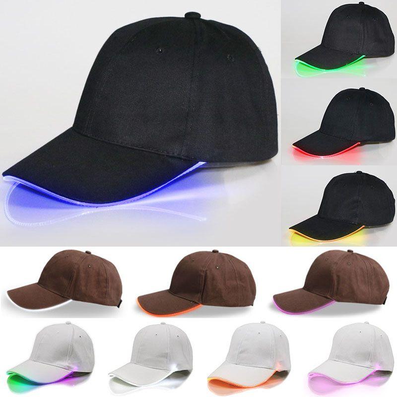 LED beleuchtete Baseballmütze Glow Club Baseball Hip-Hop Golf Dance Hut Glasfaser leuchtende Kugelkappen einstellbare Xmas Party Hüte WX-H01