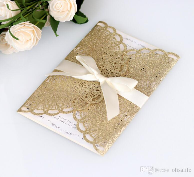 New Laser Cut 2018 Wedding Invitation Cards Personalized Hollow Wedding Party Printable Invitation Cards Ribbon with Envelope Sealed Card