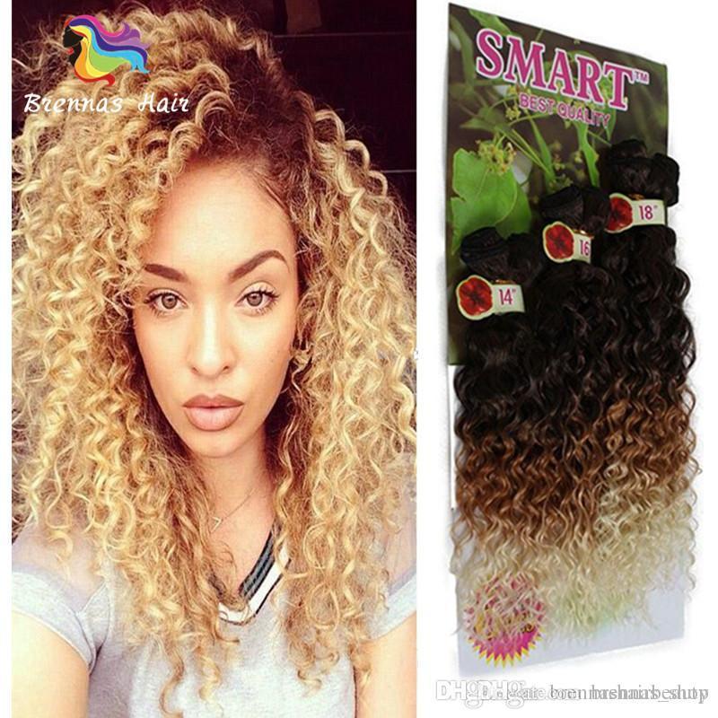 Fashion Cheap Indian Synthetic Hair Weave Bundles 6PCS Lot Dark Brown 1B 30 613 Smart Freetress Deep Curly Hair Wefts Marley Twist