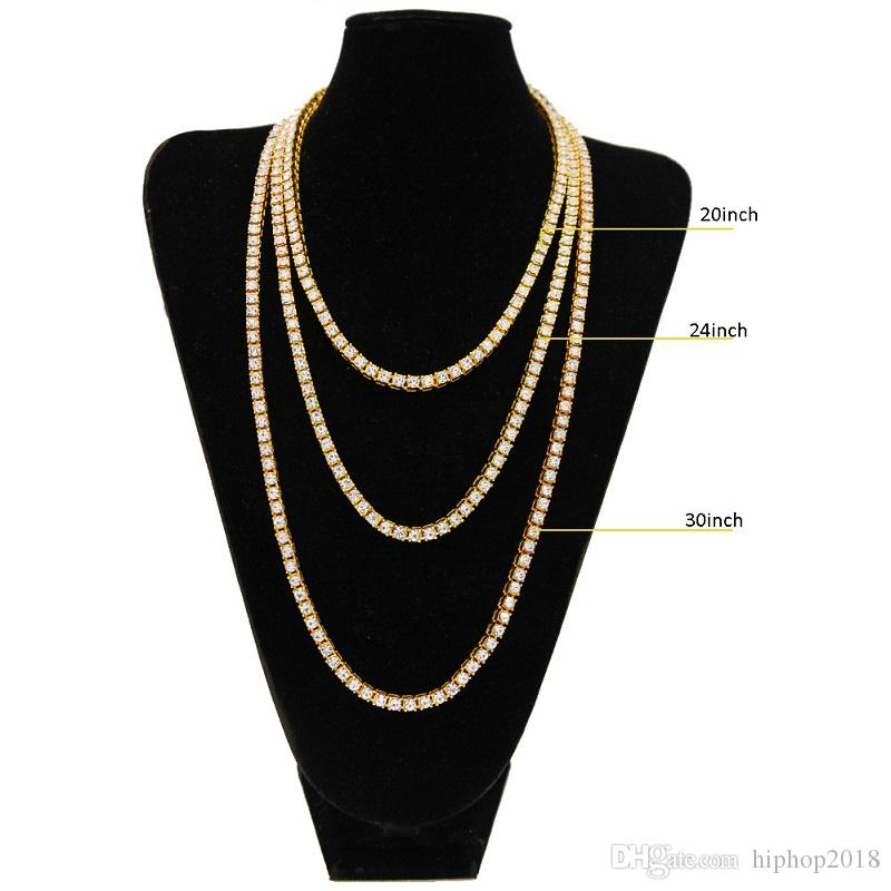 Hip Hop Bling Chains Jewelry Mens Necklace Iced Out Tennis Chain Rhinestone Single Row Necklace 18inch-30inch