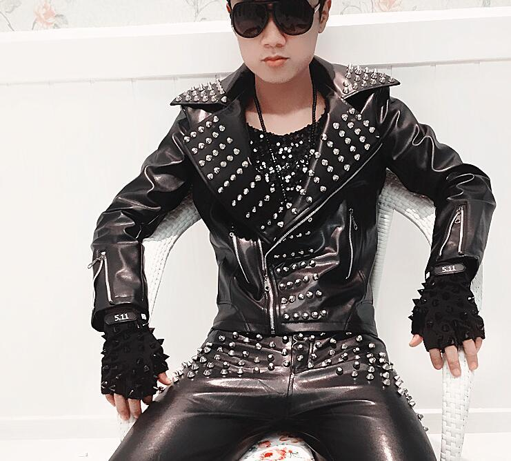 도매 - 남성은 스테이지 성능 PU 가죽 코트 리벳 옷깃 모터 자켓 DJ 가수 의상 블랙 G4 쿨