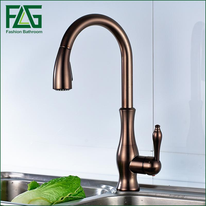 Black Oil Rubbed Bronze kitchen faucet, 360 rotating Antique blackened red stone sink tap, cold and hot kitchen mixer tap