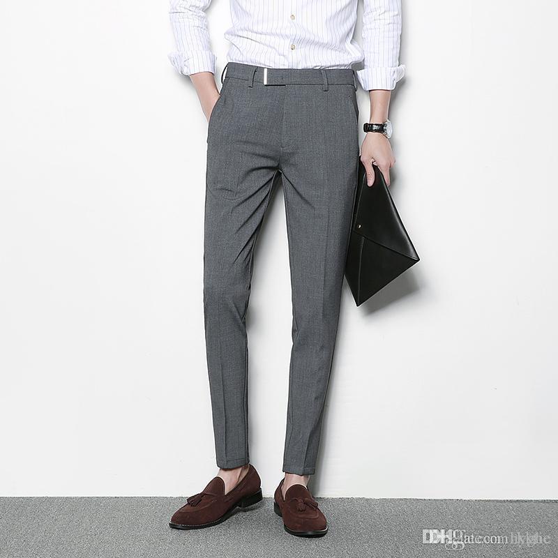 Compre Pantalones Grises Para Hombre Pantalones De Vestir Casuales Negros Hombres Pantalon Homme Traje Slim Fit Negocio Clasico Traje De Oficina Pantalon Formal A 37 18 Del Kktie Dhgate Com