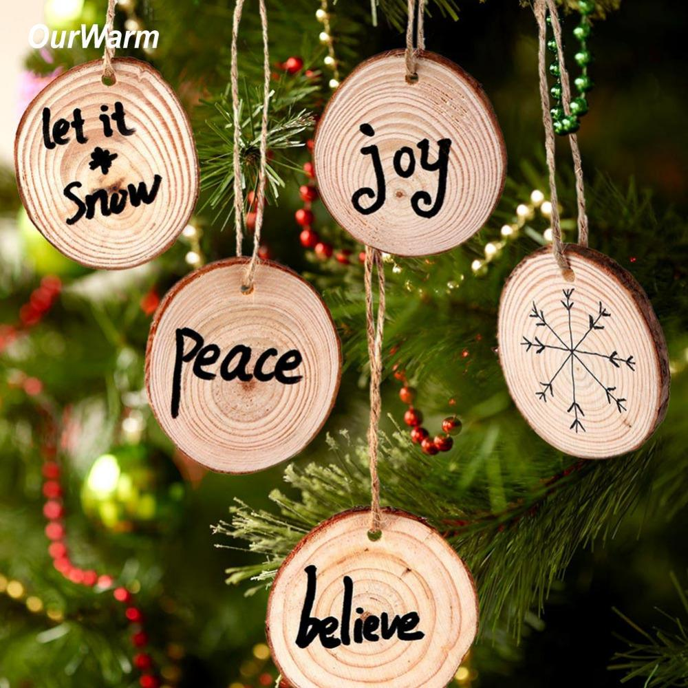 Ourwarm Wood Christmas Tree Ornament Kids Diy Craft 2018 Gifts New Year Christmas Decoration Supplies For Home Y Christmas Decor Sales