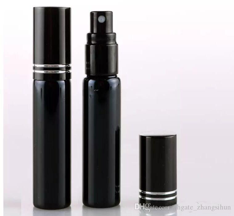 10ML زجاجة عبوة البسيطة عطور المحمولة البخاخة رذاذ الزجاجات الفارغة التجميل الحاويات الذهب الأسود اللون
