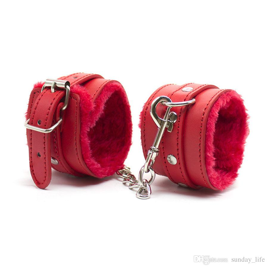 Free Shipping!!Red/ Black /pink PU Leather BDSM SM Bondage Sexy Restraints Fuzzy Furry Hand Wrist Cuffs Soft Plush Handcuffs Sex Toys