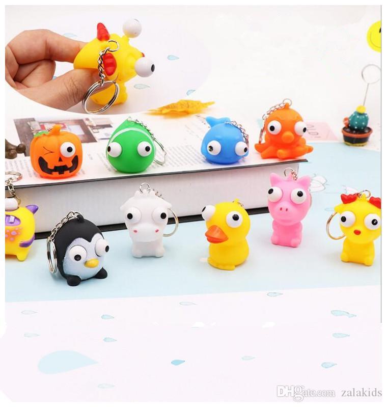 Cartoon Burst Eye Animal Lalki Breloczek Zabawki Dekompresyjne Śmieszne Zwierząt Kształt Squeeze Gorąca Sprzedaż