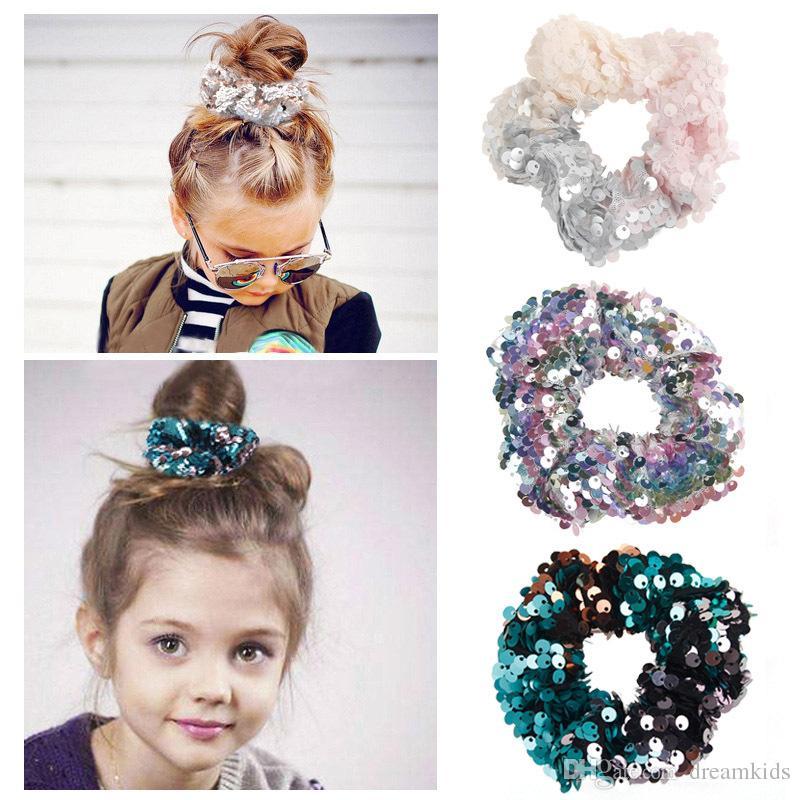 Girls Fashion Hair Accessories Elastic Sequined Shiny Ties Bands Rope Ring Scrunchie Headwear Reversible Sequin Mermaid hair Tie