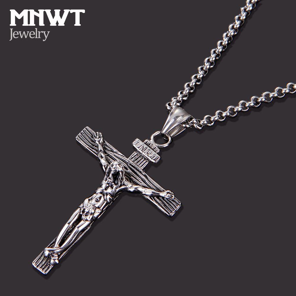 MNWT Croce Collana INRI Crucifix Jesus Piece Ciondolo Oro / Argento Antico Colore Acciaio inossidabile Uomo Catenina Gioielli Regali