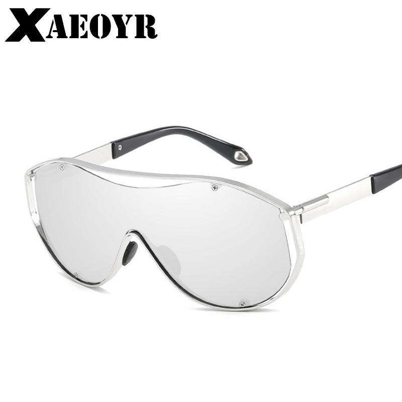 XAEOYR New UV400 Men Occhiali da sole One-piece Steampunk Occhiali resistenti agli urti Lenti di grandi dimensioni Montatura in metallo Occhiali da sole STS025