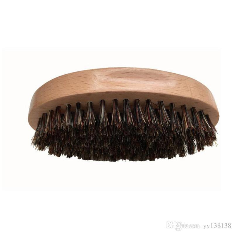 Verdadero Jabalí Bristle Barba Brush Brocha de afeitar de madera Cepillo oval portátil para barbas Bigote Masaje facial