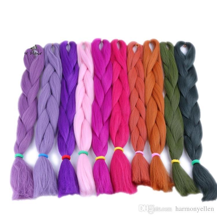 100% Kanekalon Jumbo Braid Hair 24 Inch Синтетическое наращивание волос с наращиванием волос Kanekalon Оливковый зеленый цвет Плетение волос T2609
