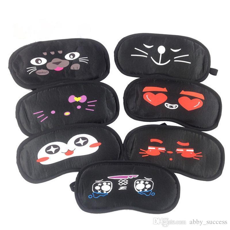 500 pcs preto viagem normal eyeshade preto dos desenhos animados impressão mulheres homens crianças eyeshade sono tampa do olho olho blinder dormir máscara de olho