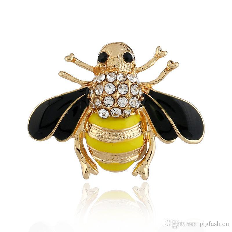 Broche de abelha Amarelo Criatividade Retro 3D Pingando Pinos de Animais de Strass Liga de Liga de Nice Broche de Segurança