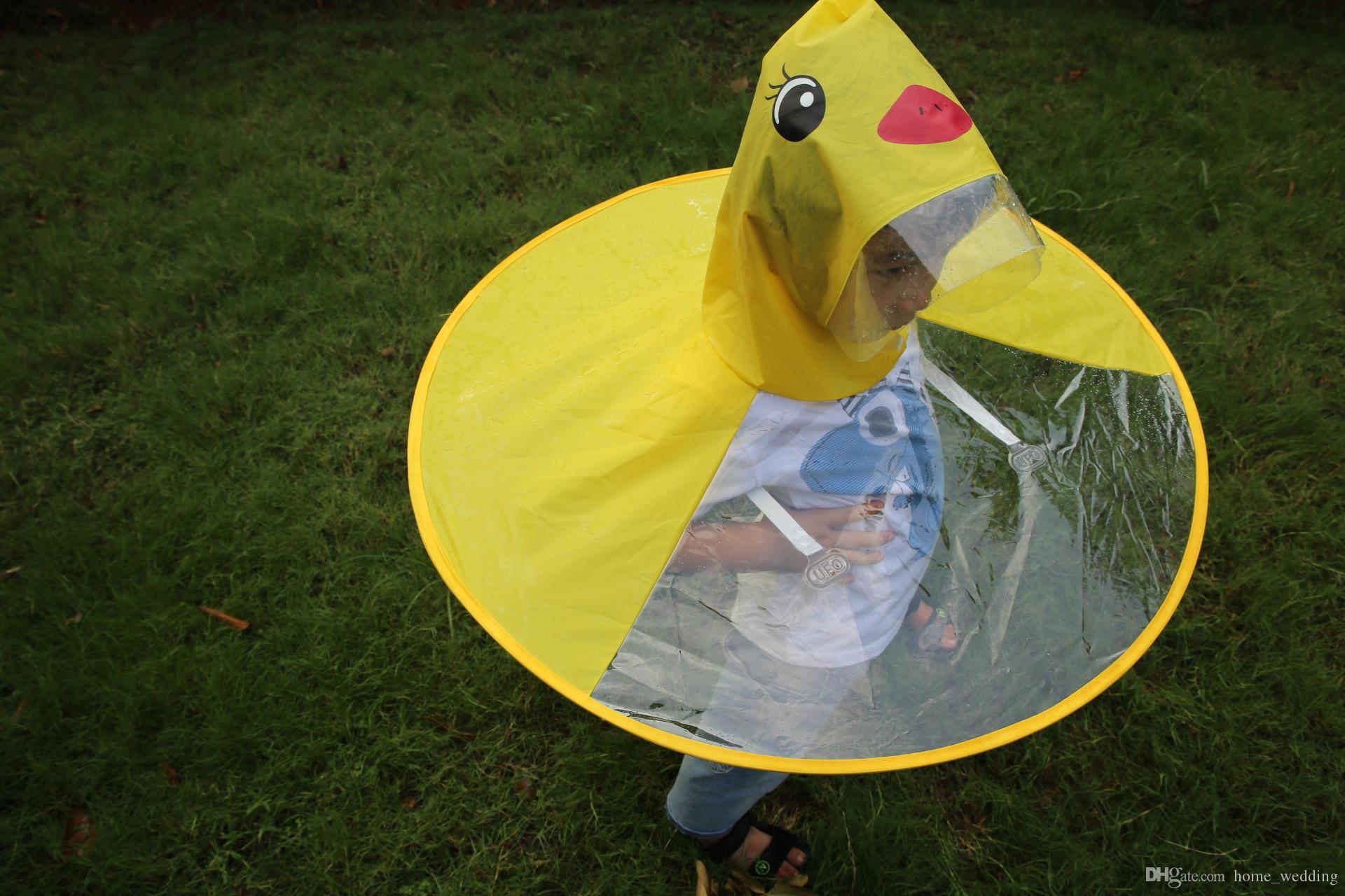 Cute Kids UFO Raincoat Rain Cover Funny Yellow Duck Raincoat Umbrella Poncho Hands Free Rainwear Waterproof