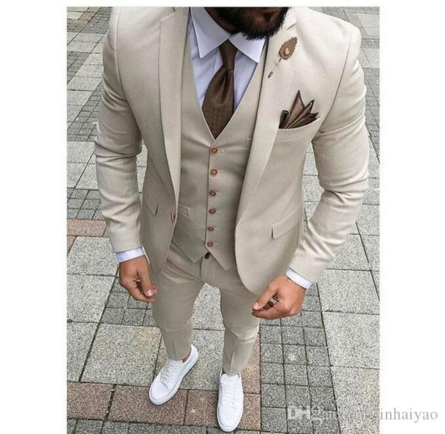 Alta Qualidade Blazer Tailor Made Ternos Dos Homens Slim Fit Terno 3 peças (Jaqueta + Calça + Colete + Gravata) Repicado Lapela Homme Slim Fit Traje