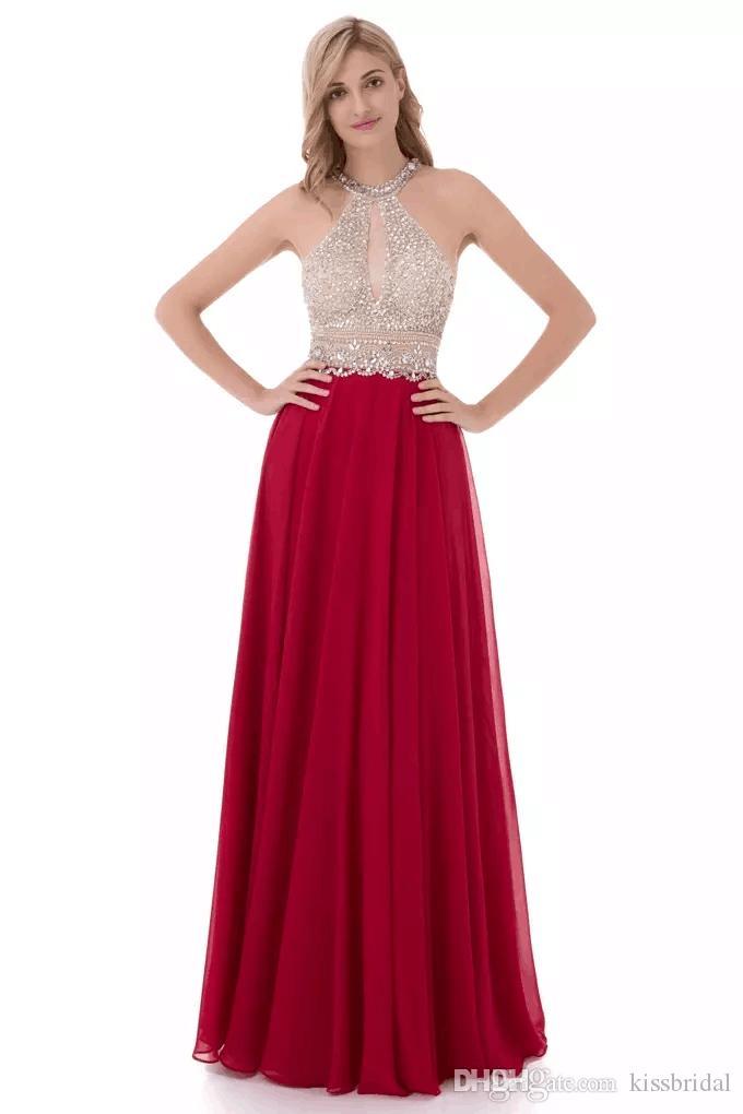 Abiti da sera lunghi rosso scuro 2019 A Line Halter Halter Chiffon Abiti da sera nero Celebrity Dress da damigella d'onore con portachiavi