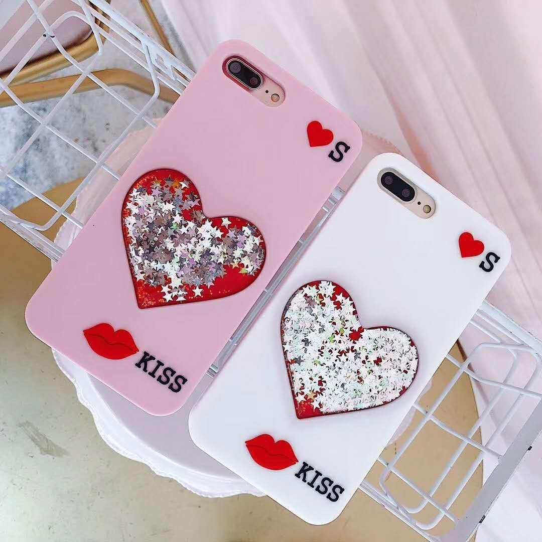 3D Bling Liquid Star Love Heart Glitter Quicksand Sweet Lip Kiss Soft Silicone Flexible Case for iPhone 6 6S 7 8 Plus X