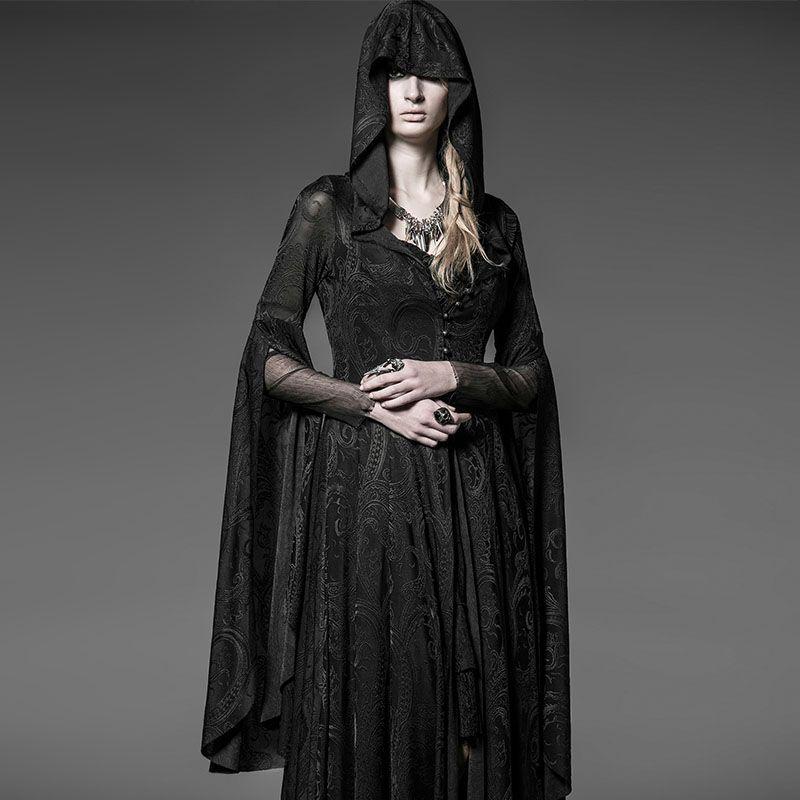 Punk Rave Gothic Longue Robe Manteau Manteau Femme Noir Visual kei Steampunk Sorcière Wicca Y510