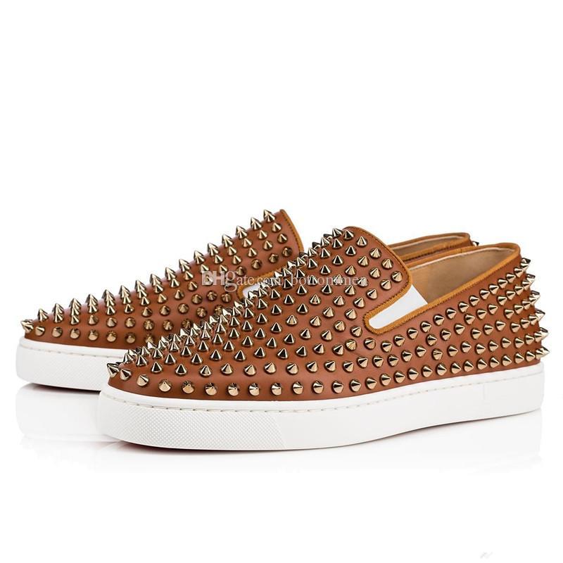Роскошные туфли Louisflats Red Bottom Женщины, мужчины Роликовая лодка из натуральной кожи с шипами шипами на кроссовках Повседневные квартиры для ходьбы Обувь для ходьбы
