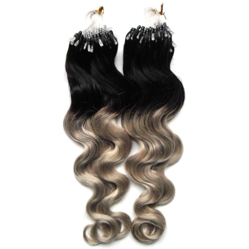 Extensões do cabelo do anel da cor do Ombre da onda do corpo micro 1g / fio Extensões do cabelo do laço do micro da onda de 200g micro extensões humanas do cabelo humano da relação