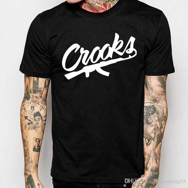 2018 Crooks Et Châteaux Chauds T-shirts Hommes T-shirt Coton Manches Courtes Homme CROOKS Lettre Hommes t-shirt Tops Tee Shirt