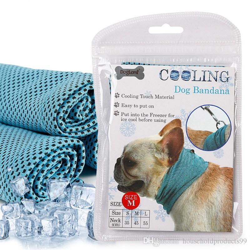 5PCS Bule S M L Instant Cooling Pet Bandana Dog Scarf Bulldog Summer Cooling Towel Wrap Breathable Pet Towel Supplies