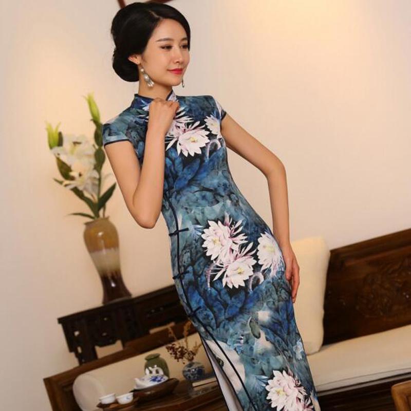 S-3XL الصينية للمرأة الحرير شيونغسام خمر الزهور طويل تشيباو الصين الشرقي فساتين الأم التقليدية Cheongsams لالرياح الوطنية