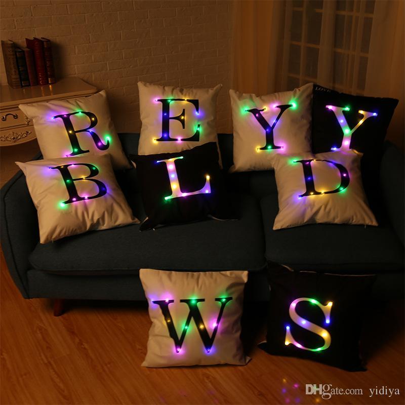 3pcs/lot Creative Flashing LED Light 26 Alphabet Letter Square Throw Pillow Case Cover Lighting Cushion Home Hotel Pillowcase