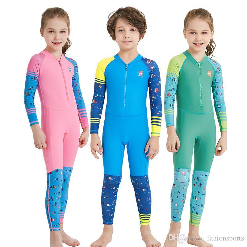 Swimwear criança One Piece Meninos Meninas Maiôs Crianças Maiôs Manga Longa Swimsuit Menina Crianças Desgaste Da Praia de Mergulho Natação