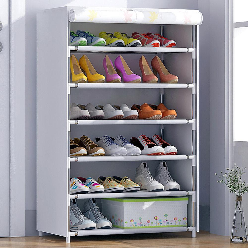 HHAiNi Dustproof Shoes Hanger Storage Cotton-made Shoe Cabinet Tower Rack Organizer with Zipper Doors