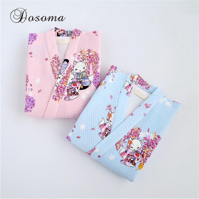 Japon Yukata Pijama Setleri Kimono Suits Kış Sıcak Kalınlaşma Pamuk Elbiseler Pijama Baskı Bornoz Ev Eğlence Giyim Gecelik