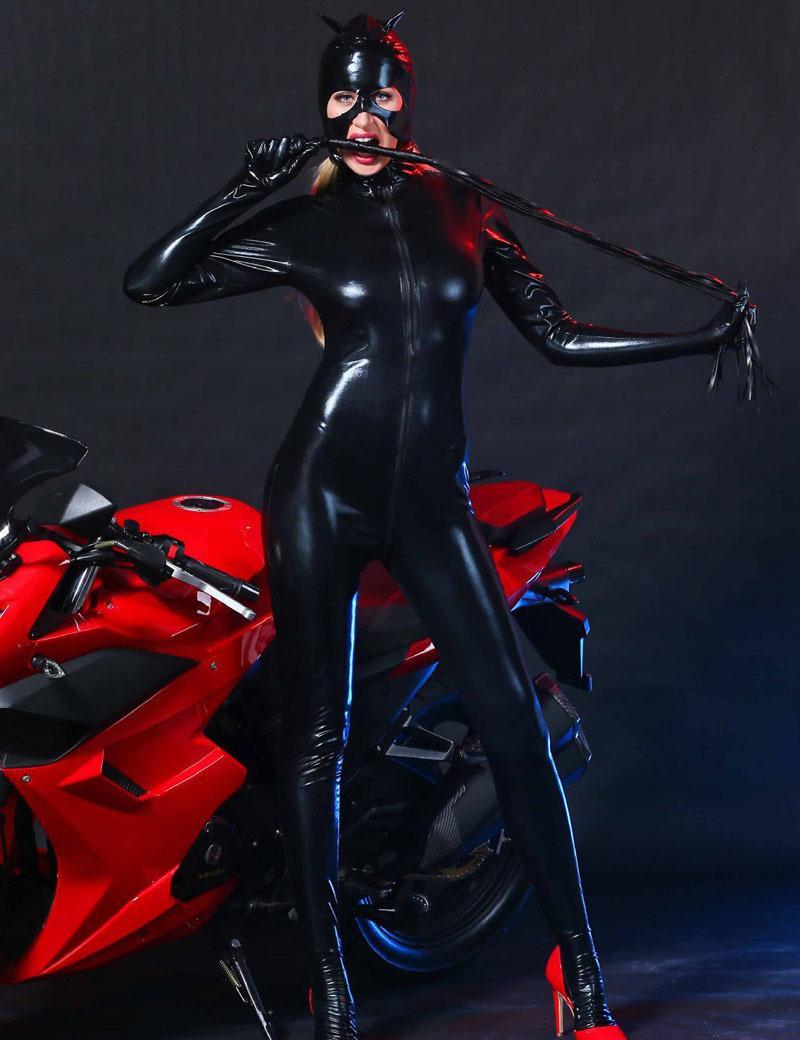 Mujeres negro de cuero de imitación catsuit catwoman sexy cat cosplay footed jumpsuit elástico 2 way body de cremallera con máscara