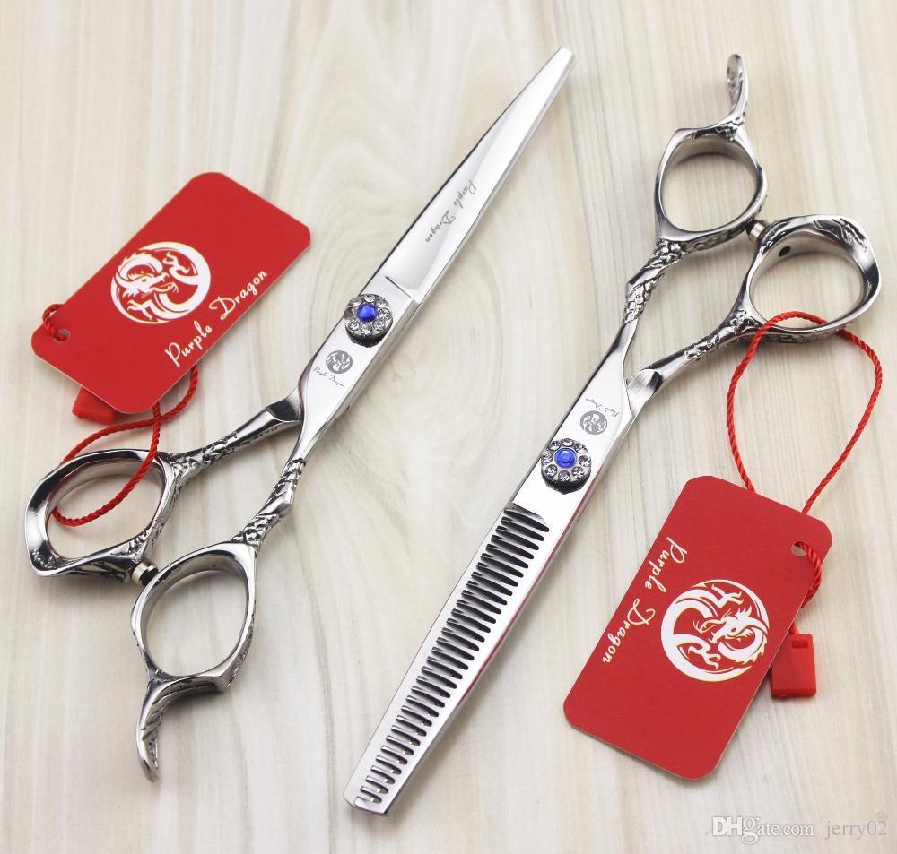 Roxo Cabelo Dragão Tesoura 440C 6 polegada 9cr Professional Barber Cabeleireiro Tesoura de Rotação Parafuso Escultura Rosa Handle VH086
